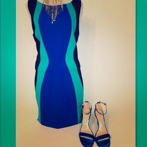 New Tahari blue combo color block dress